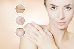 Renovating skin portrait of woman with graphic circles for prod Royalty Free Stock Photography