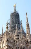 Renovating spire of Italian Duomo di Milano Royalty Free Stock Images