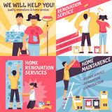 Renovation Advertising Compositions Set. Renovation design concept with four retro style compositions with text and male female home improvement crew vector Stock Photo