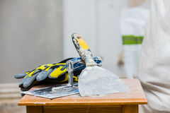 Renovation Background. Constructor`s tools on construction site - renovation concept Stock Photos