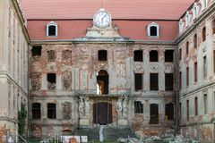 Renovation of the baroque Bruhl palace in Brody destroyed by the Soviet Army. royalty free stock images