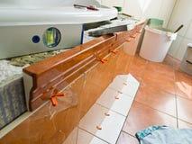 Bathroom is renvoviert stock images