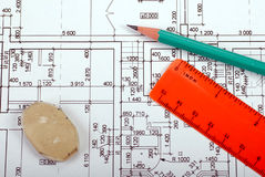Renovation blueprint Royalty Free Stock Photography