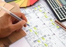 Renovation blueprint Stock Photos