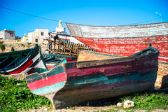 Renovation boat. Old boats in renovation and repairs Royalty Free Stock Image