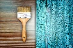 Renovation Brush On Wooden Blue Cracked Texture Stock Photos