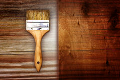Renovation Brush With Paper And Wooden Texture Stock Photography