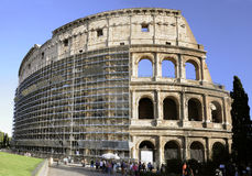 Renovation of Colosseum in Rome royalty free stock images