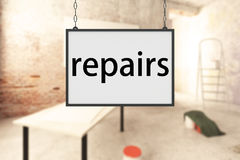 Renovation concept. Blurry room interior with hanging repairs sign. Renovation concept. 3D Rendering Stock Photography