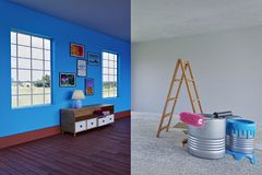 Renovation concept 3d rendering stock photography