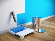 Renovation concept - Paint roller brush, paint can. 3d render Stock Images