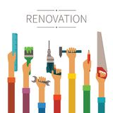 Renovation and construction vector concept in modern flat style Stock Photos