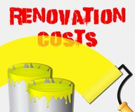 Renovation Costs Displays House Remodeler 3d Illustration. Renovation Costs Paint Displays House Remodeler 3d Illustration Stock Image