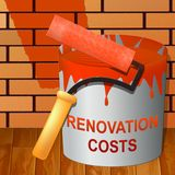 Renovation Costs Showing House Remodeler 3d Illustration. Renovation Costs Paint Showing House Remodeler 3d Illustration Royalty Free Stock Images