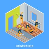 Renovation crew vector flat isometric illustration. Renovation crew vector flat isometric sectional view illustration. Cut away house room interior with workers Royalty Free Stock Photos