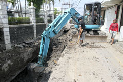 Renovation drainage system Stock Photo