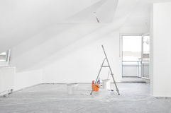 Renovation. Fresh painted renovated attic apartment Stock Photos