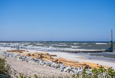 Renovation of the groins at the beach of Ustka, Poland Royalty Free Stock Image