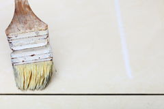 Renovation at home brush primer grout of tiles resistant Royalty Free Stock Photography