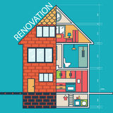 Renovation .House remodeling,flat design Stock Photo