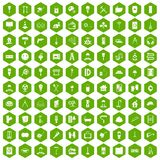 100 renovation icons hexagon green. 100 renovation icons set in green hexagon isolated vector illustration Stock Photo