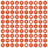 100 renovation icons hexagon orange. 100 renovation icons set in orange hexagon isolated vector illustration Royalty Free Stock Photo