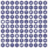 100 renovation icons hexagon purple. 100 renovation icons set in purple hexagon isolated vector illustration royalty free illustration