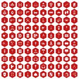 100 renovation icons hexagon red Stock Photo