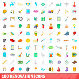 100 renovation icons set, cartoon style. 100 renovation icons set in cartoon style for any design vector illustration Stock Photography