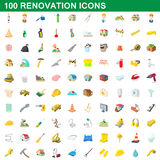 100 renovation icons set, cartoon style Stock Photos