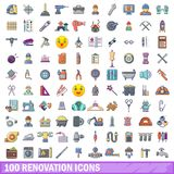 100 renovation icons set, cartoon style. 100 renovation icons set. Cartoon illustration of 100 renovation vector icons isolated on white background Royalty Free Stock Photo