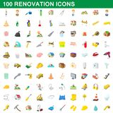 100 renovation icons set, cartoon style. 100 renovation icons set in cartoon style for any design illustration vector illustration