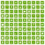 100 renovation icons set grunge green. 100 renovation icons set in grunge style green color isolated on white background vector illustration Stock Photos
