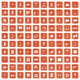 100 renovation icons set grunge orange. 100 renovation icons set in grunge style orange color isolated on white background vector illustration Royalty Free Stock Photos