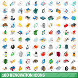 100 renovation icons set, isometric 3d style. 100 renovation icons set in isometric 3d style for any design vector illustration stock illustration