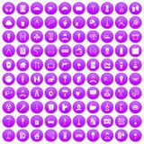 100 renovation icons set purple. 100 renovation icons set in purple circle isolated on white vector illustration stock illustration