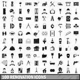 100 renovation icons set in simple style. For any design vector illustration Royalty Free Stock Photos
