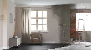 Renovation interior. 3D render stock image