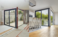 Renovation of a Modern apartment interior Before and after Stock Photography