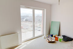 Renovation of new apartment. With white walls Royalty Free Stock Image