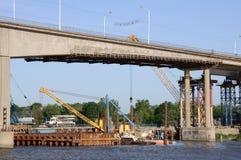 Renovation of old bridge Stock Photos