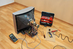 Renovation of the old TV. Royalty Free Stock Photos