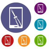 Renovation phone icons set. In flat circle red, blue and green color for web Royalty Free Stock Image