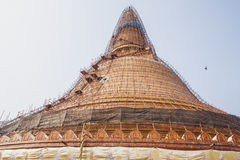 Renovation Phra Pathom Chedi stair & scaffold Stock Photo