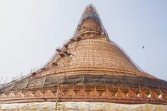 Renovation Phra Pathom Chedi stair & scaffold. Phra Pathom Chedi, pagoda, the landmark of Nakhon Pathom Province,Thailand in renovation Stock Photo