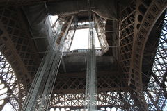Renovation program to go on until next summer on Eiffel Tower Stock Images