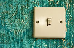 Renovation Project. Light switch in need of replacement stock images