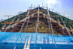 Renovation and Repairing the roof temple Royalty Free Stock Image