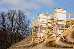 Renovation of a roof. Timber frame on a roof Royalty Free Stock Images