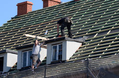 Renovation - roof repair royalty free stock photo